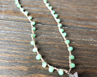 Beaded Crochet Boho Necklace •• Light green beads with Hill Tribe flower silver pendant