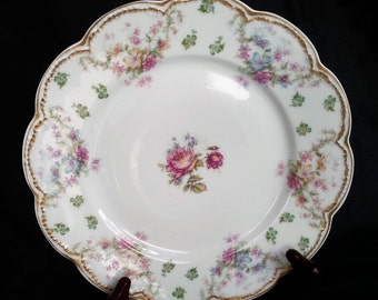 Rare, Antique Haviland Limoges Schleiger 72 Lunch Plate, Haviland Limoges Lunch Plate, Double Gold, 1881 to 1931, 5 Available