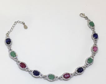 Sterling Silver Bracelet with Natural Sapphire, Natural Ruby and Natural Emerald, Appraised 700 CAD