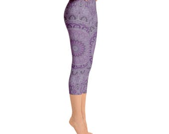 Capris, Mandala Yoga Wear, Leggings Printed Purple Yoga Bottoms, Music Festival Clothing, Stretchy Pants