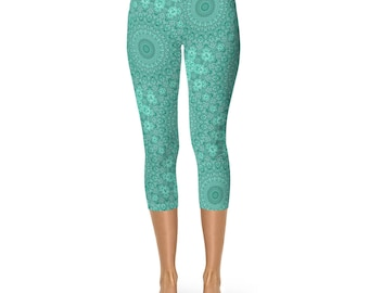 Leggings Capri Turquoise Blue - Mandala Art Leggings for Women, Short Yoga Pants