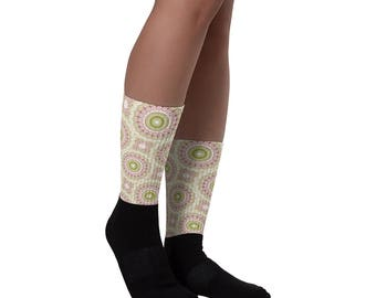 Cute Socks for Women, Pink and Green Flowery Patterned Crew Socks, Ribbed Printed Socks