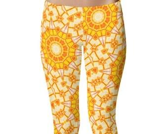 Yoga Pants Capri, Leggings, Orange and Yellow Tribal Style Mandala Art Leggings, Summer Capris Stretch Pants