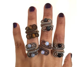 Adjustable Double Stone Ring - Made to Order