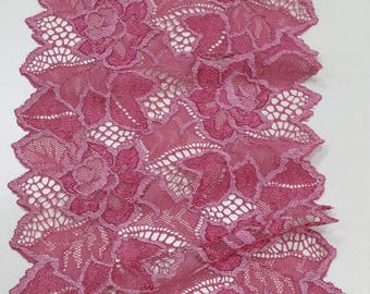 Pink stretch lace Trim, Elastic lace, Chantilly Lace French Lace, Bridal lace Wedding Lace Scalloped lace Eyelash lace Floral Lingerie Lace