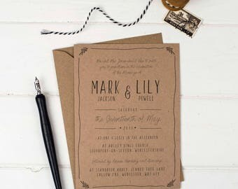 Rustic Wedding Invitation -  Kraft Wedding Invite - Wedding Stationery - Invitation Suite - Rustic Wedding