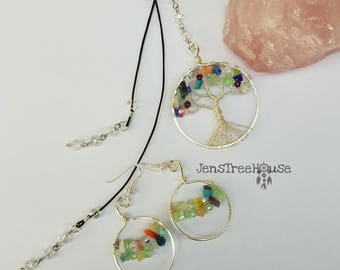 Silver Tree of Life necklace with earrings
