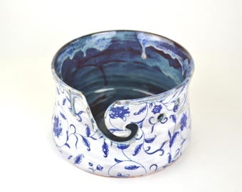 Blue flower large handmade pottery yarn bowl knitting bowl