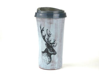 Elk pottery travel mug in blue handmade coffee cup with silicon BPA free lid