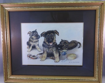 Oil pastel&conte crayon drawing of a alsatian puppies , signed by artist Patricia A.Mayfield,framed,glazed,1995