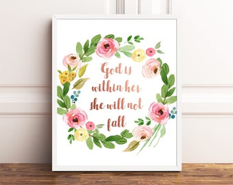God is within her she will not fall, Psalm 46:5, Nursery Bible Verses, Scripture Wall Art, Floral Bible Verses for Girls Nursery, Rose Gold