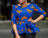 Ankara peplum top, african print top, peplum top, ankara top, blouse
