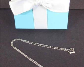 "Tiffany Co Sterling Silver Elsa Peretti Medium 22mm Open Heart 16"" Necklace Box (1144)"