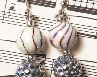 Gifts for Her, White Swirl Earrings with Silver