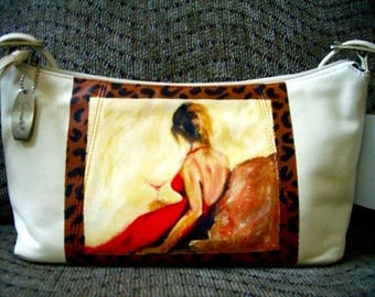 Hand Painted Leather Purse - Martini Lady
