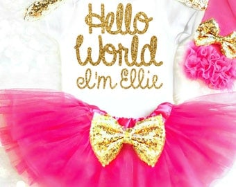 Hello World Girl Coming Home Outfit Baby Girl, Personalized Newborn Take Home Outfit Pink Newborn Outfit Going Home Outfit Baby Girl Gift