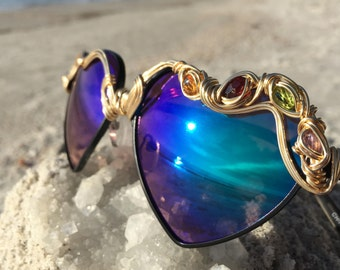 BLUE Heart Womens Sunglasses, Peridot Amethyst Garnet & Topaz By the Carat Gems, Festival Coachella Electric Forest EDC SunGlasses NEW