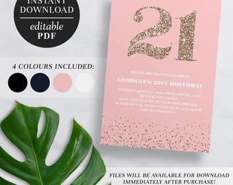 Printable 21st Birthday Invitation Rose Gold Glitter | Editable Template | Glitter | 21 | Twenty One | 21st Birthday Invite | Navy | Pink