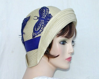 Miss Fisher Straw flapper Gatsby summer cloche with blue butterfly Downton Abbey hat
