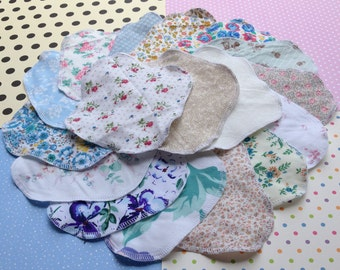 GRAB BAG PREMADE 10-Pack or Custom 3-7-15, 100% Cotton Reusable Cloth Pantyliners, Panty Liners, Variety Set, 3 Sizes, Daily Freshness