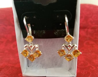 E030 Vintage Sterling Silver Earrings with Citrines