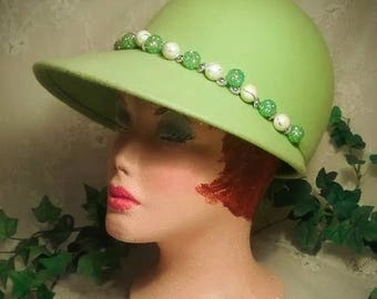 ON SALE Vintage  Billed Cap in Yellow-Green Wool Felt with Bead Embellishment – With Tags, Never Worn
