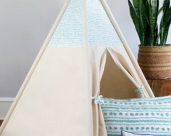 Teal Triangles Teepee WITH POLES (kids teepee, childrens teepee, tipi, playtent, wigwam, childrens decor)