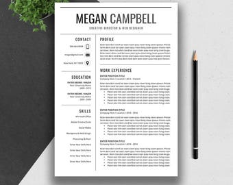 professional resume template cv template cover letter ms word mac pc