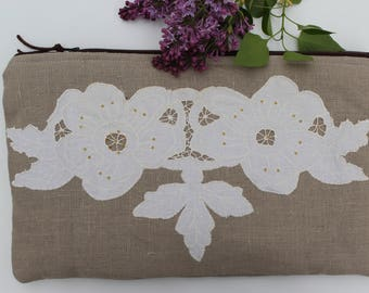 Vintage Applique Handbag - Rustic Clutch Bag - Country Wedding Gift - Country Modern Clutch - Vintage Inspired Clutch - Vintage Lace Clutch