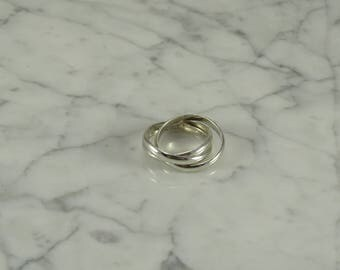 Three interlocking Sterling Silver Rings (Size 8)