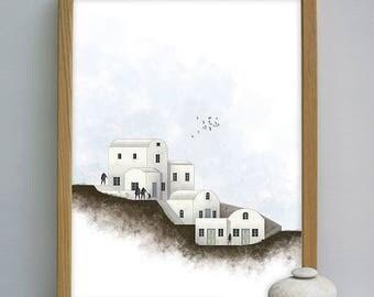 Santorini print, santorini art, greek island printable, Architecture posters, Greek poster, island, architectural prints, architect poster