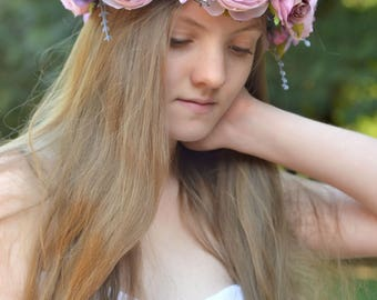Flower crown Bride halo flowers dusty purple Crown Boho wedding hair wreath large Bridal headpiece Boho flowers Girl crown