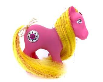 G1 My Little Pony Princess Sunbeam Round Jewel Gem Stone Yellow Tinsel Hair Pink Body 80s Original Retro Rare Vintage MLP Bronies Brony