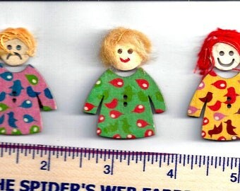 WOODEN GIRL BUTTONS - 2 Pieces - Dress and Head - Children - Unique!