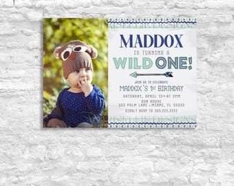 A Wild One Birthday Invitation, Boys First Birthday Invitation, Boho Birthday Invitation, Native Birthday, Boho 1st Birthday with Photo