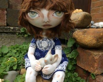 OOAK handmade  cloth art doll soft sculpture textile art