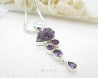 Geo Amethyst and cut amethyst Sterling Silver Pendant and Chain