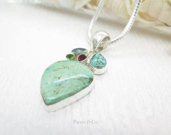 Tibetan Turquoise Garnet Peridot and Blue Topaz Sterling Silver Pendant and Chain