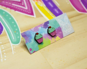 Cupcake Hand Painted Stud Earrings