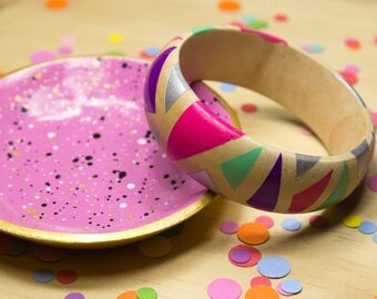 Pink, Purple, Mint and Silver Hand Painted Bracelet
