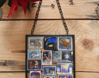 Framed blue Christmas stamp wall art - Christmas gift - stamped art -