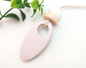 Fashion jewelry, Boho jewelry, Blush necklace, Pastel necklace, Geometric clay necklace, Oval pendant, Handmade beaded jewelry, Mum gift