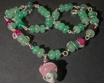 "Green Necklace with Aventurine, Agate and Glass Beads - ""Forest Sprite"""