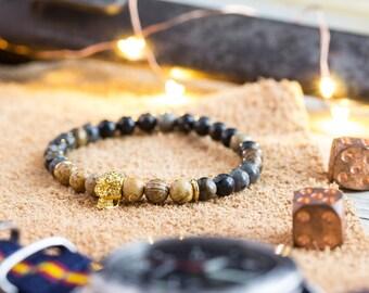 6mm - Picasso stone & jasper beaded stretchy bracelet with gold skull, bead bracelet, mens bracelet, gemstone bracelet, skull bracelet