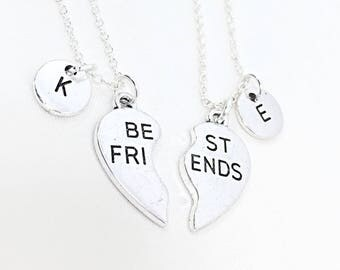 Best friend Necklace for Two, Set of 2 Friendship Necklaces, 925 sterling silver,Silver Best Friends Necklaces - Set of Two Friendship Gift