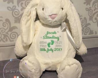 Personalised Bunny Rabbit Teddy Bear, Embroidered birthday Gift, Boy or Girl Custom bear, Christening Teddy, 1st birthday, 1st Easter Rabbit