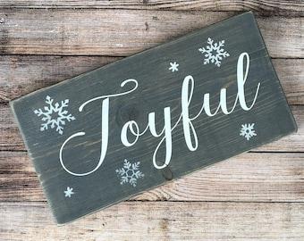 Holiday Joyful Rustic Sign