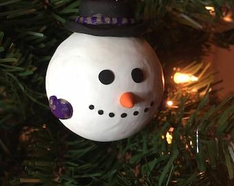 Snowman Ornament, Hand Sculpted, Christmas, Glass, Polymer, Custom