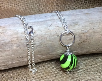 Green Striped necklace, Lime Green & Black, unique necklaces for women, Handmade chokers, Custom lengths, Christmas gift, birthday gift idea