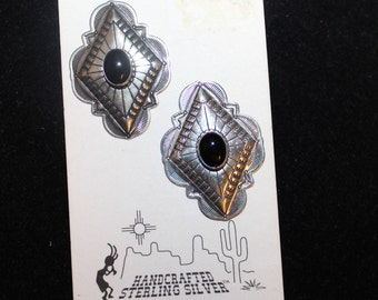 Native American Sterling Silver Earrings With Onyx - Signed P P
